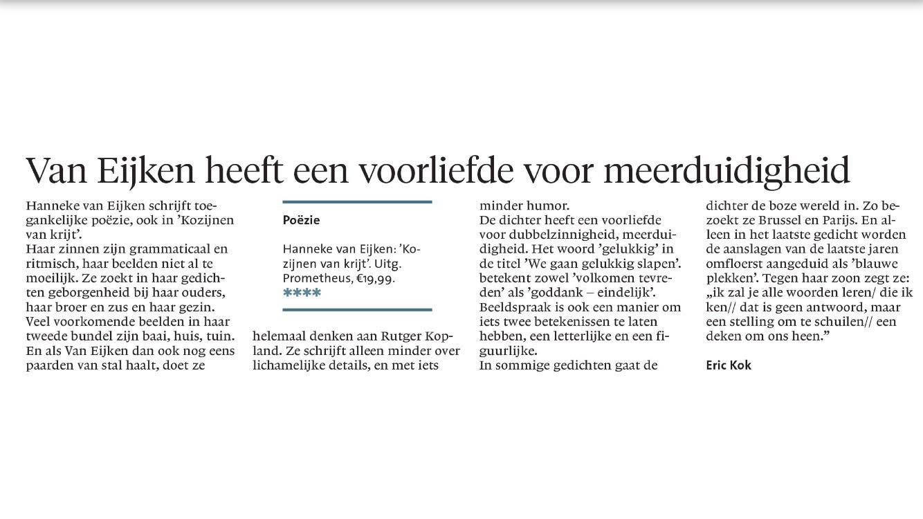 Top Hanneke van Eijken, Papieren Veulens, poezie, recensie, dichteres #PQ61